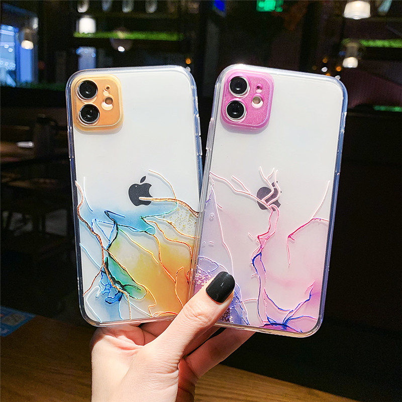 Vintage Colorful Crack Phone Case For iPhone 12 11 Pro Max XR XS Max MINI 7 8 6S Plus X SE 2020 Soft IMD Clear Back Cover Coque
