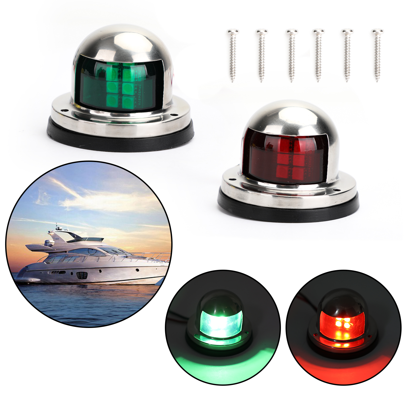 Areyourshop 8 LED Marine Bow Boat Yacht Navigation Green Red Light 12V Stainless Steel 2PCS for Car Boat Parts
