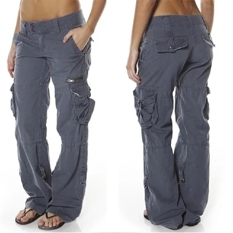 Hip Hugger Comfy Cargo Casual Pants With Pockets Unisex Couple Full Flare Pants Gray Red Green Black Fashion Cargo Pants