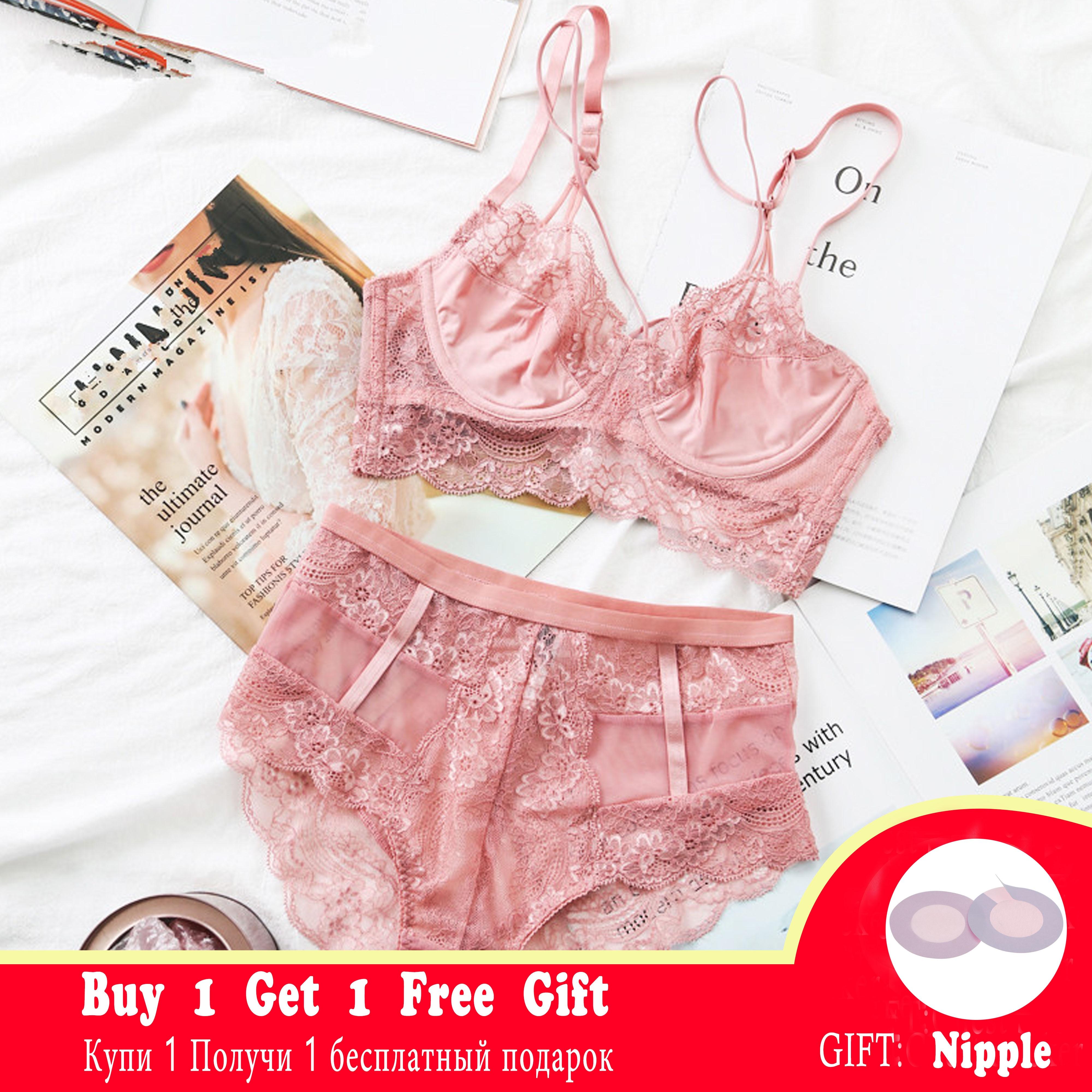 Classic Bandage Pink Bra Set Lingerie Push Up Brassiere Lace Underwear Set Sexy High-Waist Panties For Women underwear