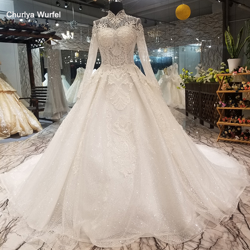 LS07871 Muslim Wedding Gown With Long Train High Neck Long Sleeve Lace Up Bride Wedding Dresses 2018 Best Seller Quick Shipping