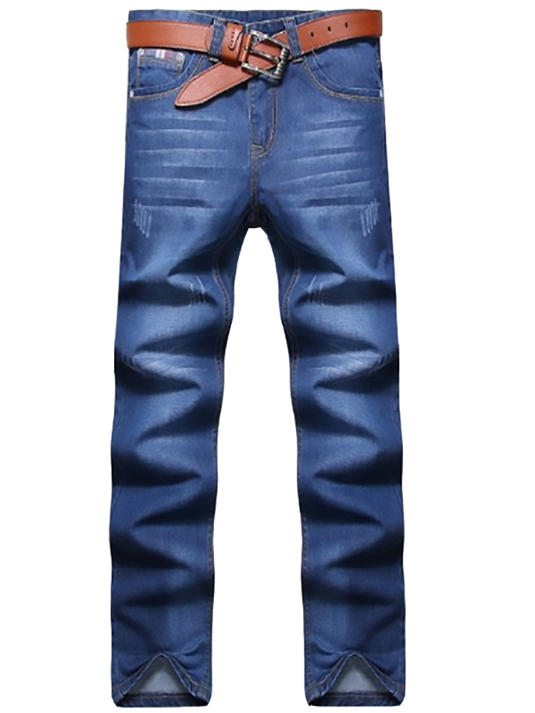 Straight Jeans Slim-Fit Classic Business Stretch Denim Trousers Pants Cowboys Young Men