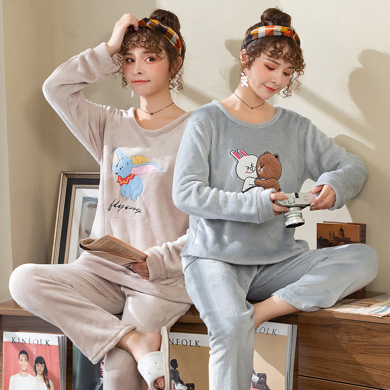 2019 Winter Thick Warm Flannel Cute Cartoon Pajama Sets for Women Long Sleeve Coral Velvet Sleepwear Suit Homewear Home Clothes 37