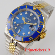 BLIGER 40mm gold coated men wristwatch jubilee band NH35 movement sapphire crystal auto date(China)