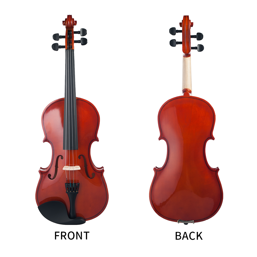 Wood 1/8 Acoustic Violin Varnished Fiddle With Storage Case for 4 - 5 Years Old Kids Beginner