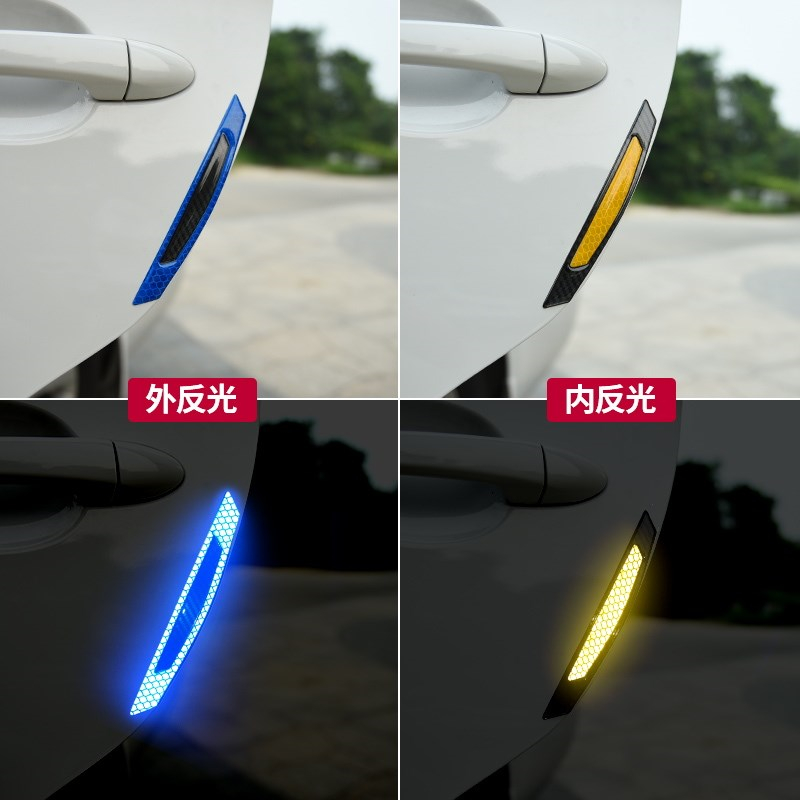 4X Cars Stickers 5D Carbon Fiber car door Reflective Anti Collision Warning Signs Anti Rub Strips Protection Door Car Styling in Styling Mouldings from Automobiles Motorcycles