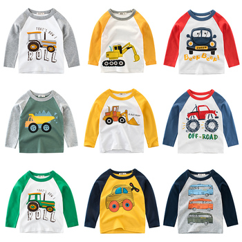 Boys  T Shirt Long Sleeves Kids Girls Cotton Tops Children Baby Cars Print Cartoon Clothing Tee Toddler Clothes Infant Avengers children t shirt long sleeves kids boys girls cotton tops baby dinosaur print cartoon clothing tee 2 8 years clothes full
