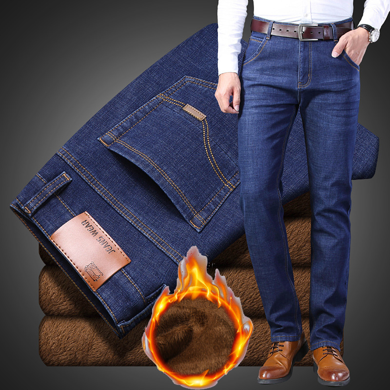 Winter Jeans Mens 2019 Winter Thermal Warm Flannel Stretch Jeans For Men Straight Casual Jeans Wool Pants For Men TJWLKJ