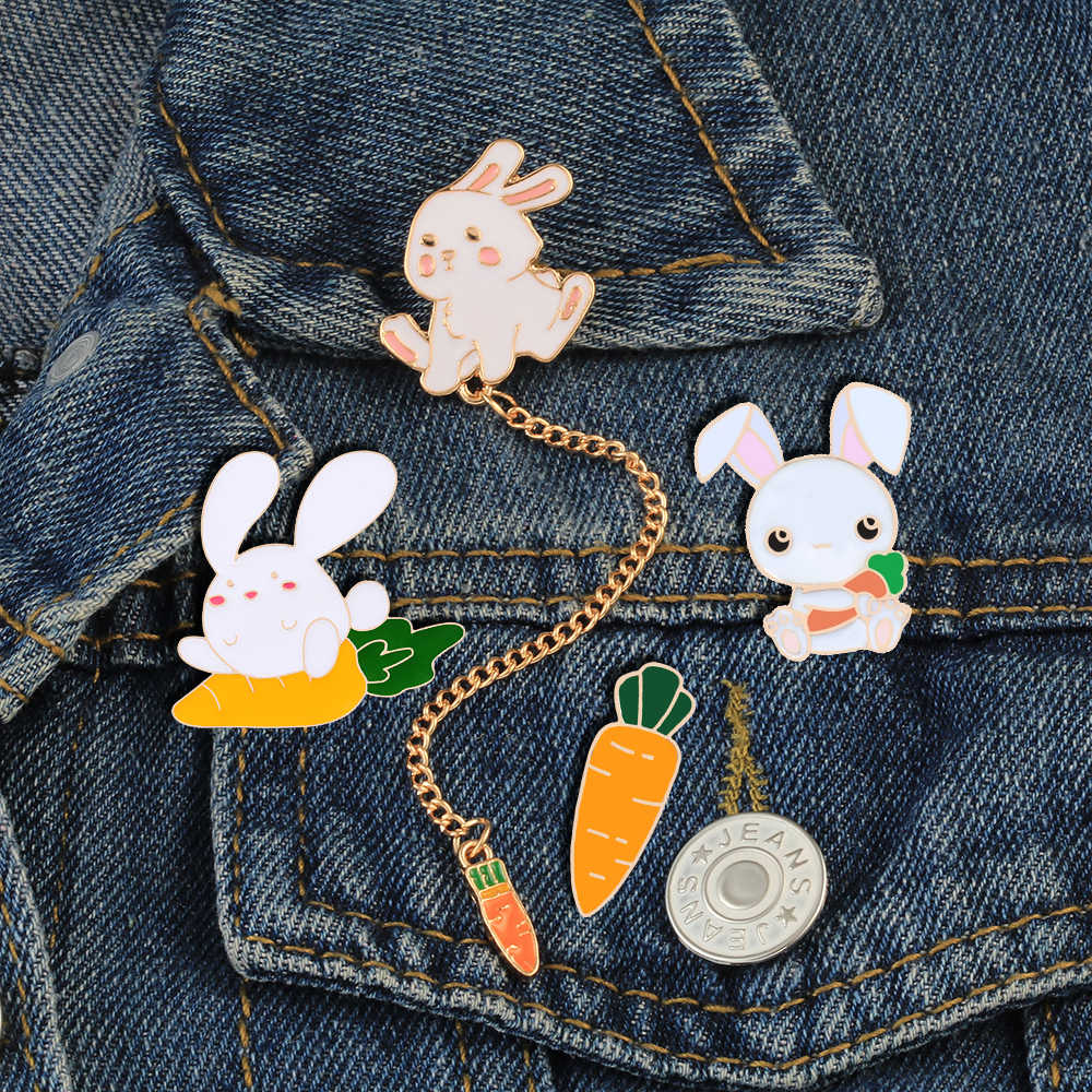 Bunny And Carrot Enamel Pins Cute Rabbit Chain Brooches Animals Badge Women Denim Jackets Collar Lapel Pins Cartoon Jewelry
