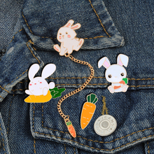 Collar Lapel Brooches Jewelry Jackets Carrot Rabbit-Chain Pins Cartoon Bunny Cute Badge
