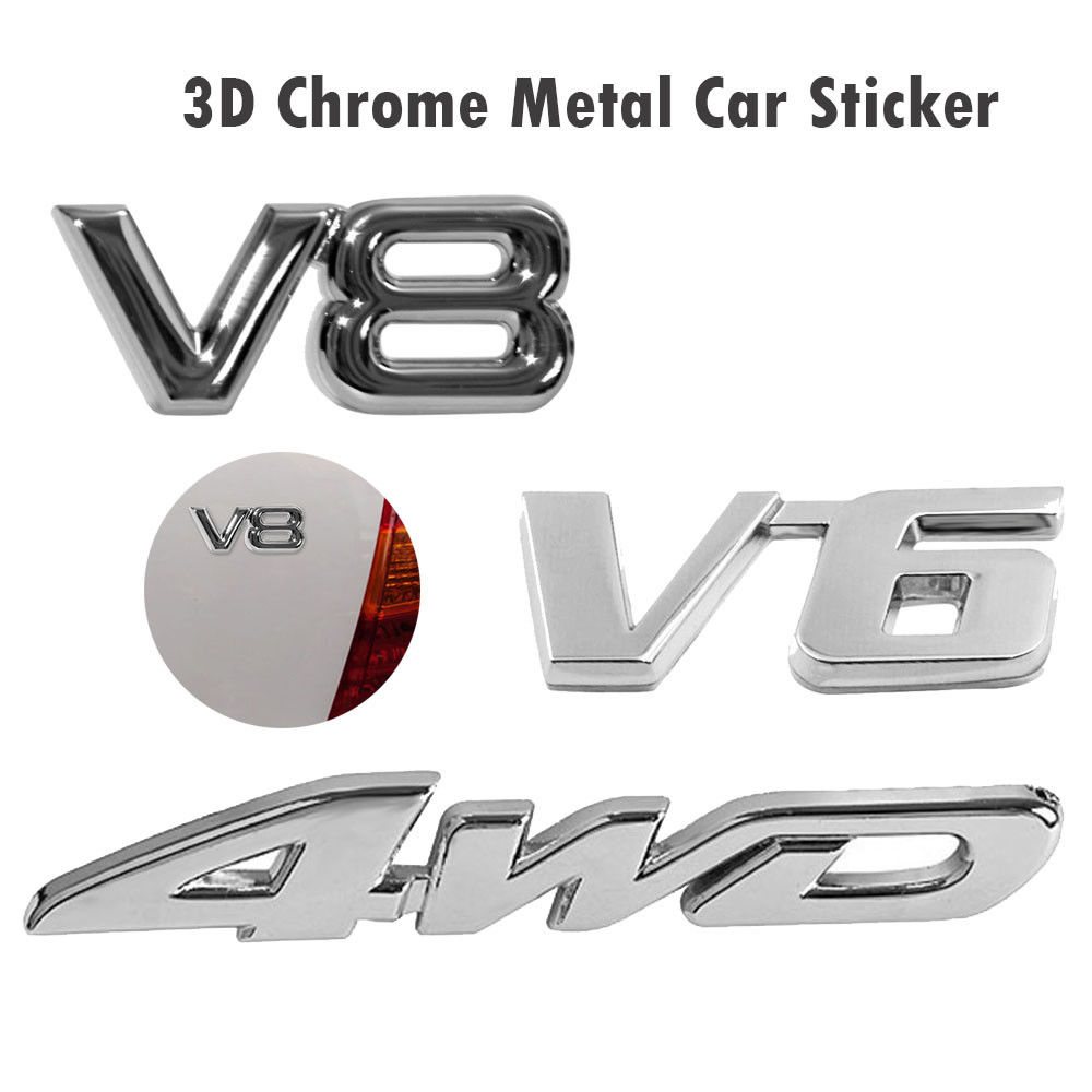Auto Styling 3D Metall Aufkleber 4WD V6 V8 3D Chrom Auto Fahrzeug Heckklappe Aufkleber Stamm Deckel Emblem Abzeichen Aufkleber