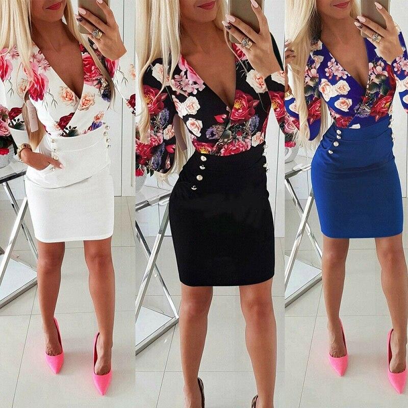 Женское платье с глубоким v-образным вырезом, повседневное Короткое мини платье с цветочным принтом и пуговицами, Короткое мини платье для в...