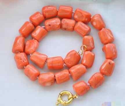 สร้อยคอไข่มุกแท้ 10 ~ 16 มม baroque กระบอกสีชมพู coral สร้อยคออัญมณีลูกปัดผู้หญิงของขวัญฟรีการจัดส่ง