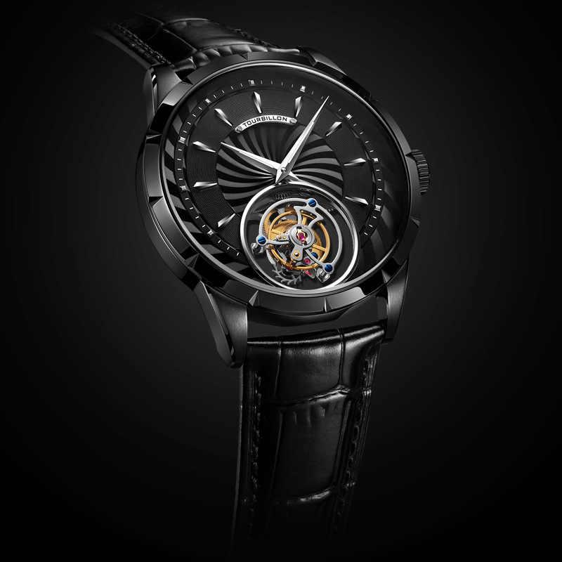 جديد ساعة رجالية فاخرة التلقائي الميكانيكية توربيون ساعة الذكور حركة الإبداعية الجوف منظور شخصية الجيش مروحة ساعة