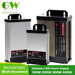 Уличный светодиодный источник питания 5 В/12 В/24 В постоянного тока, водонепроницаемый драйвер для светодиодов 100 Вт, 200 Вт, 300 Вт, 400 Вт, настенн...