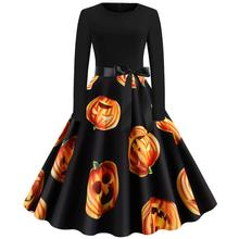 Costume Halloween Women Dress Pumpkin Vintage Patchwork Midi  Autumn 50s Housewife Evening Party 9.24