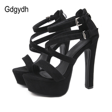 Gdgydh Fetish Summer Shoes Woman High Heel Platform Sandals Female For Party Suede Leather Comfortable Back Zipper 2020 New newest hot summer tassel fringe suede leather ankle strappy cover heel back zipper women sandals party high heels shoes woman