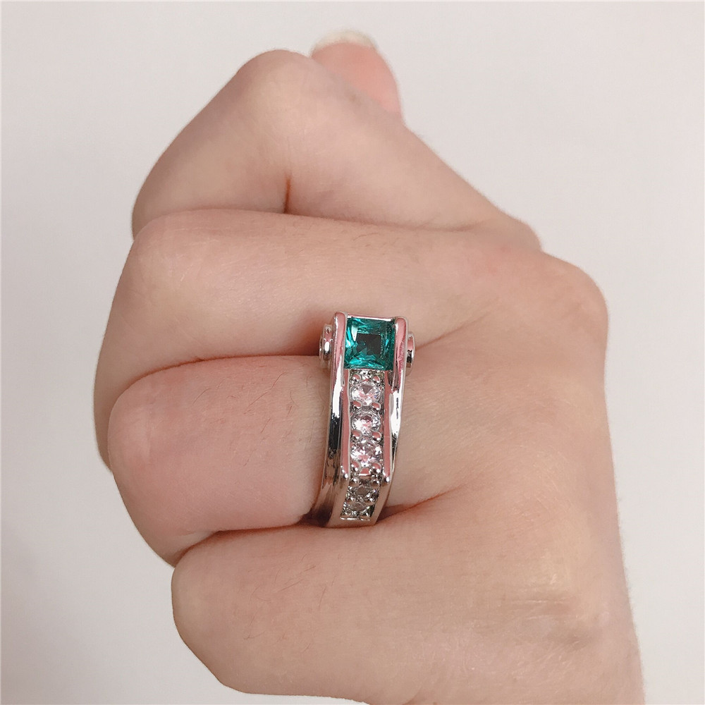 FFLACELL 2020 NEW Trend Geometric Irregular Square Zircon Ring Princess Emerald Engagement Eedding Ring For Women Gift Jewelry