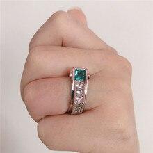 FFLACELL 2020 NEUE Trend Geometrische Unregelmäßige Platz Zirkon Ring Prinzessin Smaragd Engagement Eedding Ring für Frauen Geschenk Schmuck