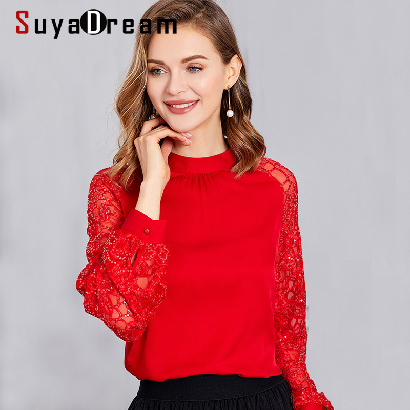 SuyaDream Women Silk Blouses 92%Silk 8%Spandex 2020 Spring Embroidery Lantern Sleeved Stand Collor Blouse Shirt