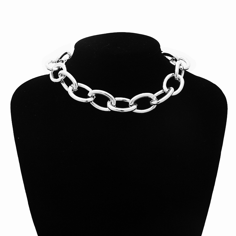 2019 Gothic Chunky Chain Choker Necklace Punk Rock Statement Necklace Women Goth Jewelry Vintage Collier Femme Fashion Jewelry