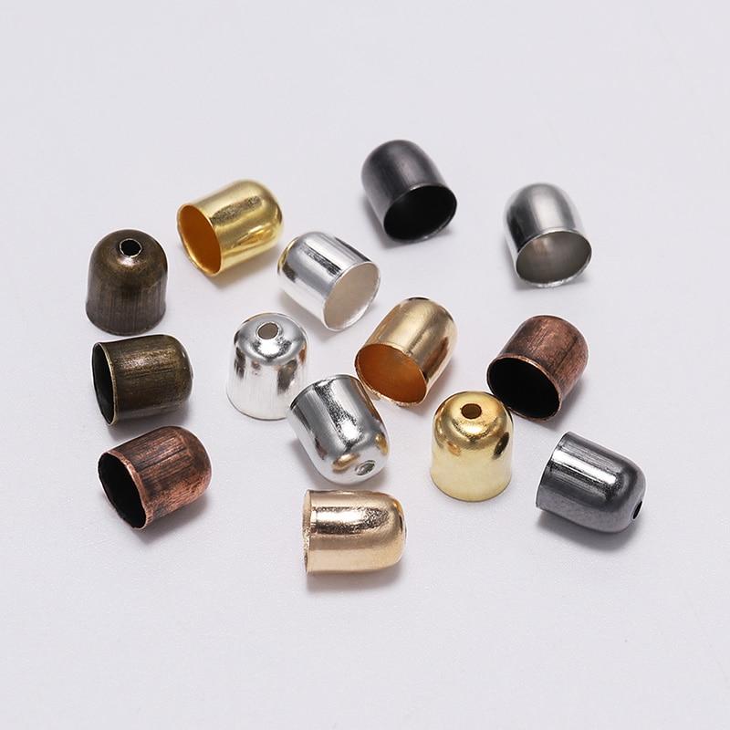 50-100 pcs/lot gland cordons en cuir boucle extrémité pointe capuchon 4-12mm daim Fiber sertissages fin perles casquettes pour la fabrication de bijoux fournitures bricolage