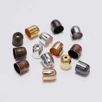 50-100 pçs/lote Cordões de Couro Borla Fivela Tampa Da Ponta Final 4-12mm Fibra De Camurça Crimps Finais Beads Caps Para Fazer Jóias Suprimentos DIY