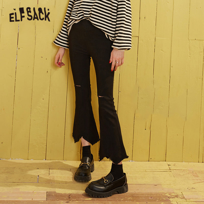 ELFSACK Black Solid Ripped Casual Women Trousers 2020 Spring Pure Irregular Raw Hem Korean Style Office Ladies Flare Bottoms