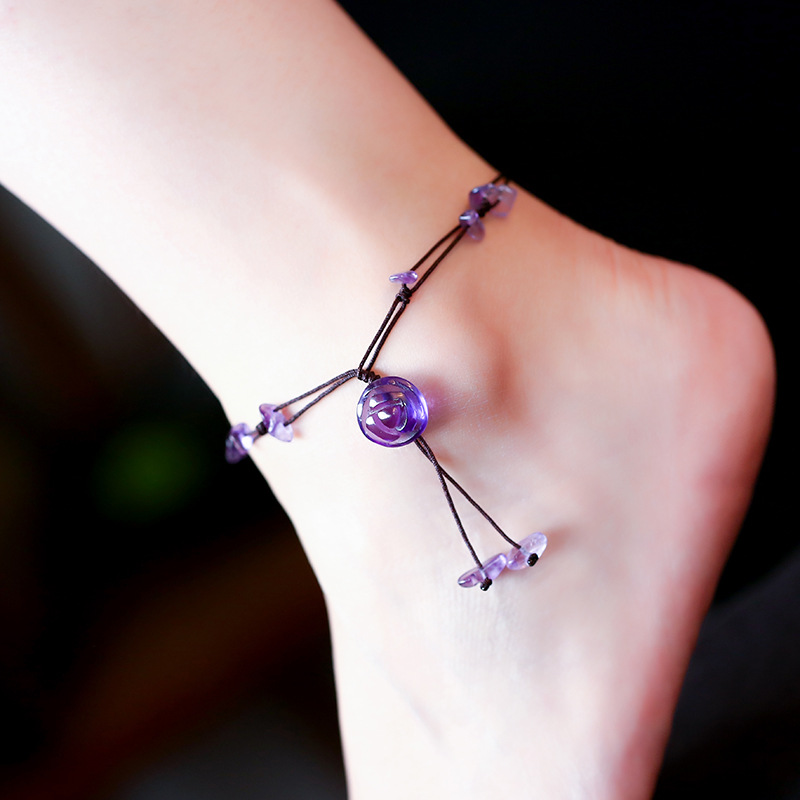 Handmade Braided Anklets For Women Jewelry Natural Amethyst Jade Rose Quartz Stone Beads Chain Flower Engraved Fine Jewelry