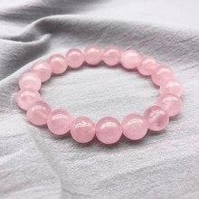 2021 rosa rosa em pó de cristal quartzo pedra natural streche pulseira cabo elástico pulserase jóias grânulos amantes presente da mulher