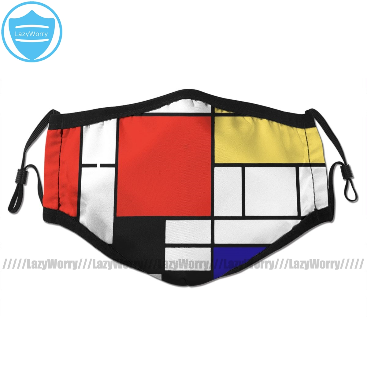 Geometric Mouth Face Mask Mondrian Facial Mask Kawai Cool With 2 Filters For Adult