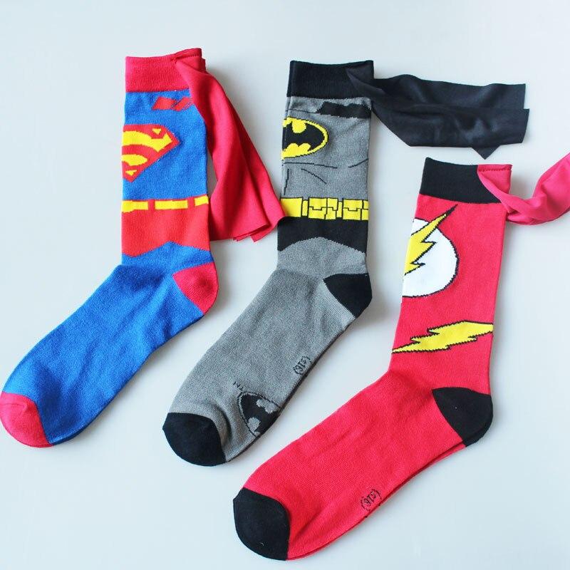 Movie Marvel Avengers Cloak Socks Superman Batman Flash Men Cartoon Cotton Sock Personalized Fashion Running Socks Heren Sokken