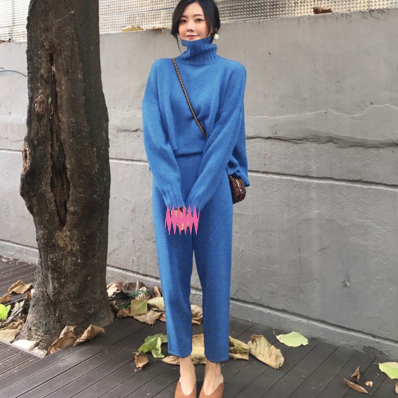 2 Pieces Set  Women Winter Autumn Knitted  Loose Clothing Suits Female Pants Suit Tracksuit Turtleneck Sweater Knit Pants Women