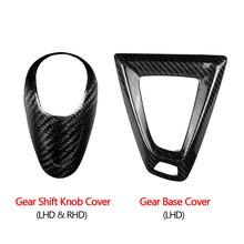 Real da fibra do carbono do deslocamento de engrenagem alça manga capa guarnição para bmw m2 m3 m4 m5 x5m x6m acessórios interiores do carro