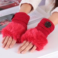 Sparsil Women Winter Warm Mittens Soft Faux Rabbit Fur with Buttons Knitted Wool Ladies Cute Fingerless Solid Fashion
