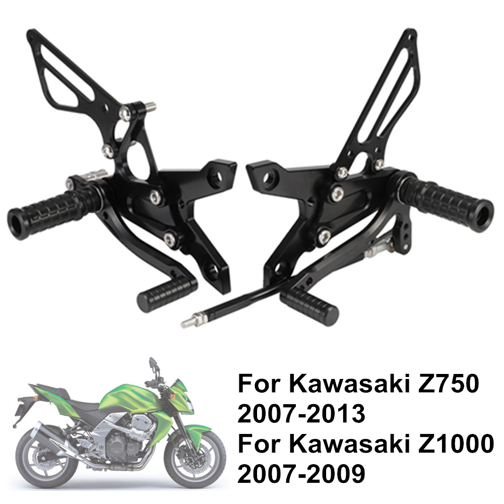Z750 2007-2013 Z1000 2007-2009 Adjustable Aluminum Alloy CNC Motorcycle Rear Set Foot Pegs Footrests For KAWASAKI