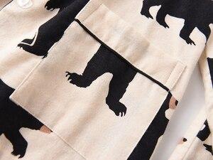 Image 2 - Śliczny biały niedźwiedź 100% szczotkowanej bawełny kobiety zestawy piżam jesień dorywczo mody bielizna nocna kobiety homewear sexy pijamas mujer