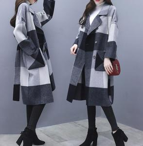 Image 4 - Contrast plaid woolen coat female 2020 autumn winter warm windproof long overcoat plus size trench coat suit collar casaco top
