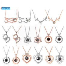 New Fashion 100 Languages I love you Camera Necklaces Romantic Love Memory Pendant Choker Necklace Lady Girl Valentine Day