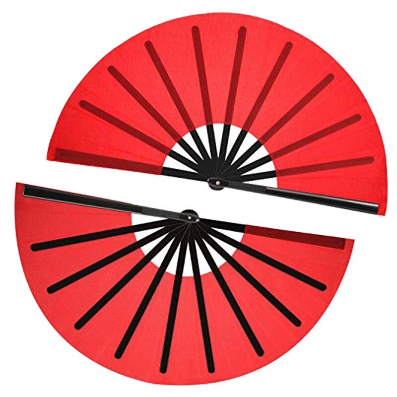 HOT-2 Pieces Large Folding Fan Nylon Cloth Handheld Folding Fan Chinese Kung Fu Tai Chi Fan Decoration Fold Hand Fan For Party F