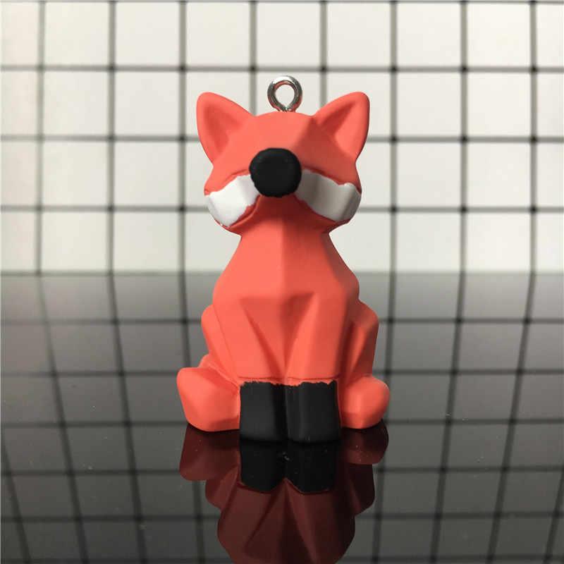 Geométrica Animal chaveiro Sapo porco Cor de Rosa dos desenhos animados Fox chaveiro Homens E Mulheres Malas Do Carro Pingente de Aniversário das Crianças anel Chave do presente