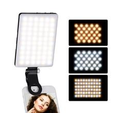 Mini Clip on telefon komórkowy światła LED lampa leddo smartfona 3200 K/5600 K ściemniania W/baterii dla iPhone samsung Huawei smartfony Xiaomi