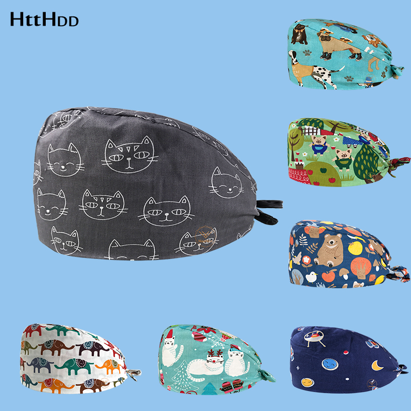 Htthdd Scrub Caps For Women And Men Hospital Medical Hats Print Cat In Black Tieback Elastic Section Surgical Caps 100% Cotton