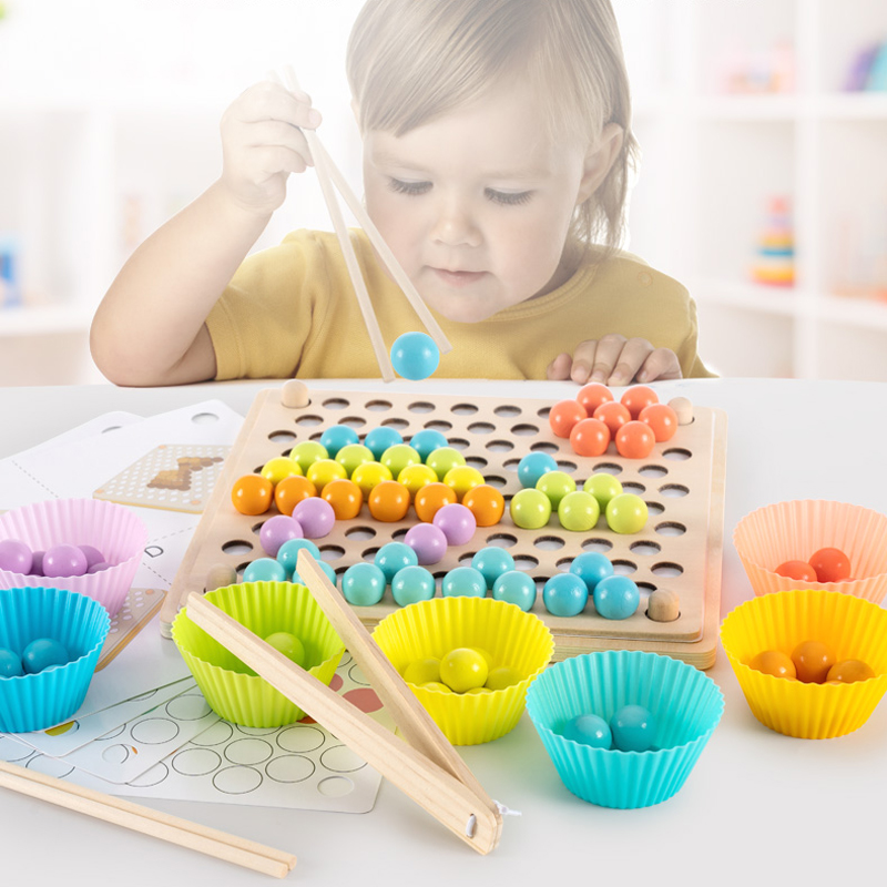 New Montessori Early Education Baby Hand Movement Training Color Cognition Bead Clipping Wooden Toys For Children Game