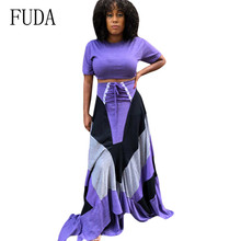 FUDA Big Size XXXL Solid Stitching String Fashion Trend Short Sleeve Elegant Dress Hollow Out 2 Pieces Sets Long Maxi Dresses