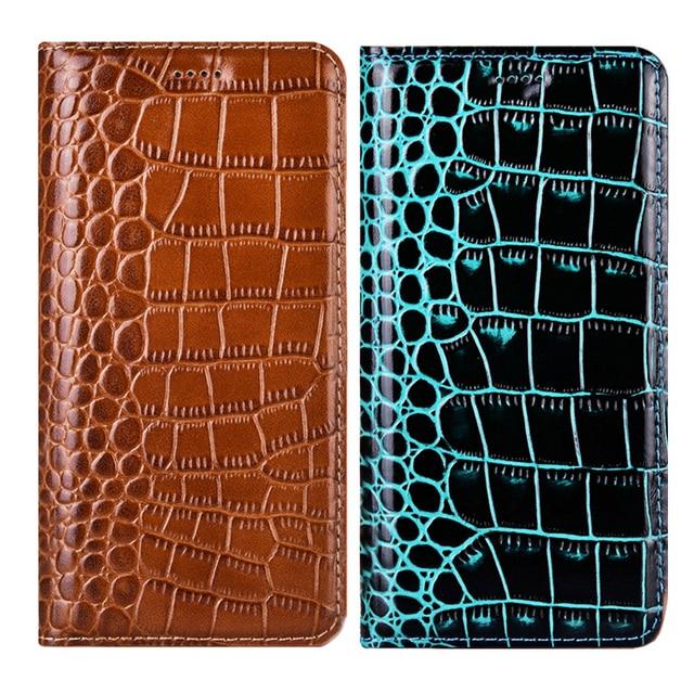 Funda de teléfono de piel auténtica de cocodrilo para Samsung Galaxy A10, A20, A30, A40, A50, A70, A51, A71, 5G, A10S, A20S, A30S, M10, M20