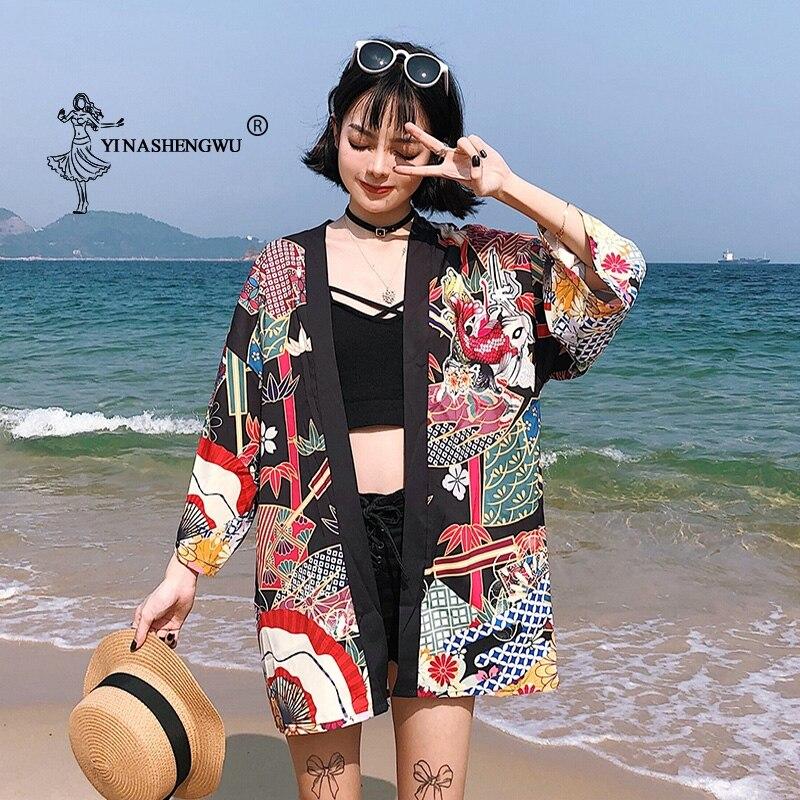 Yukata Women Kimono Cardigan Japan Kimonos Asia Clothes Summer Fish Print Shirt Top Casual Kimonos Kawaii Kimono Cosplay Costume