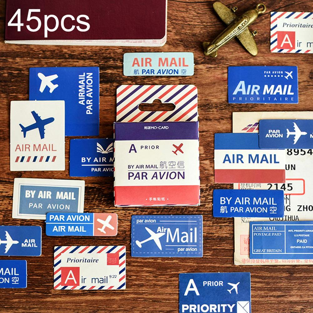 45Pcs Airmail Plane Letters Cartoon Stickers Adhesive DIY Luggages Handbook Scrapbooking Wall Decor Home