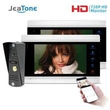 Jeatone sistema de interfone com vídeo para porta, 7 Polegada, wi fi, inteligente, ip, câmera com campainha com fio de mp, suporte remoto desbloqueio de desbloqueio