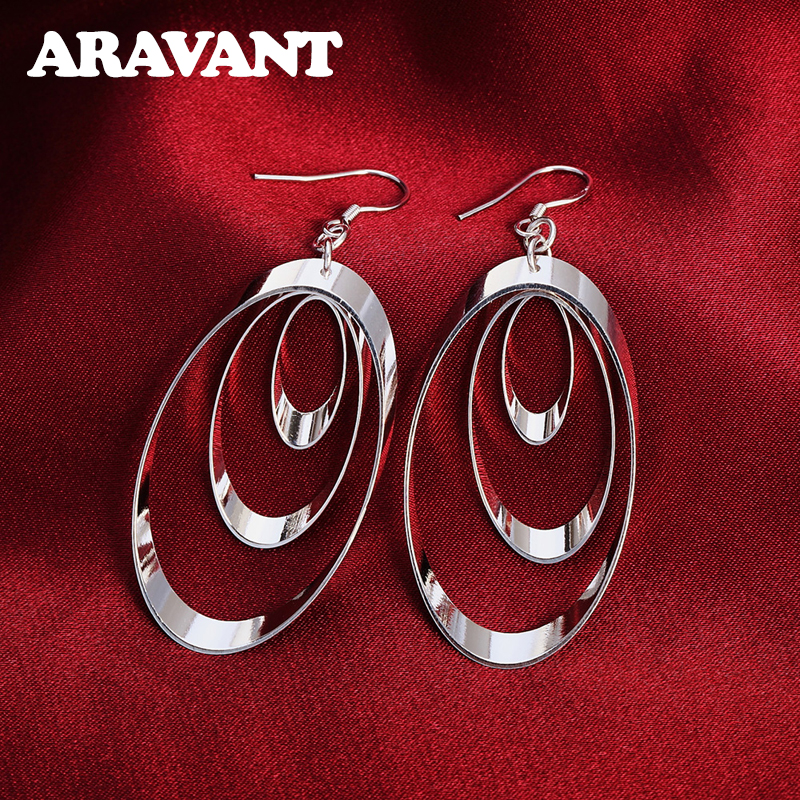 925 Silver Three Circle Drop Earrings For Women Wedding Fashion Jewelry